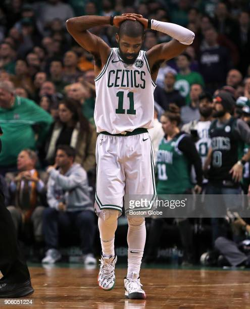 Boston Celtics' Kyrie Irving reacts after missing a three point attempt to tie the game with under five seconds left in overtime The Boston Celtics...