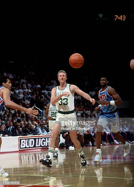 Boston Celtics Larry bird passes ball up court during fast break vs New Jersey Nets Hartford CT 1992