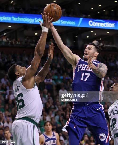 Boston Celtics Marcus Smart blocks a second half shot attempt by Philadelphia 76ers JJ Redick The Boston Celtics hosted the Philadelphia 76ers in...