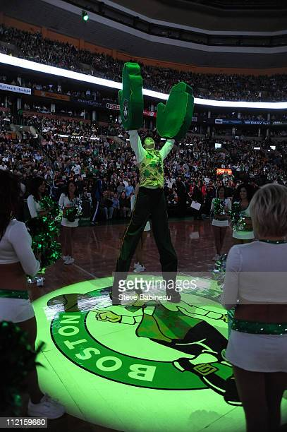 Boston Celtics mascot Lucky entertains the crowd prior to the game against the New York Knicks on April 13 2011 at the TD Garden in Boston...