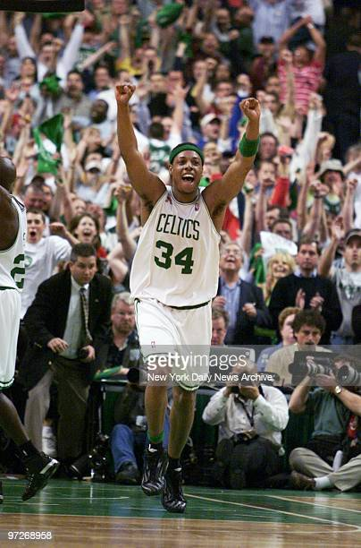 Boston Celtics' Paul Pierce shouts with joy after the final moments of Game 3 of the Eastern Conference finals against the New Jersey Nets at the...