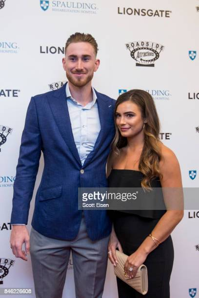 Boston Celtics player Gordon Hayward and his wife Robyn Hayward at the Boston Premiere of STRONGER at Spaulding Rehab Center on September 12 2017 in...
