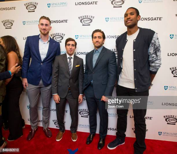 Boston Celtics player Gordon Hayward Boston Marathon bombing survior Jeff Bauman Actor Jake Gyllenhaal and Boston Celtics player Al Horford at the...