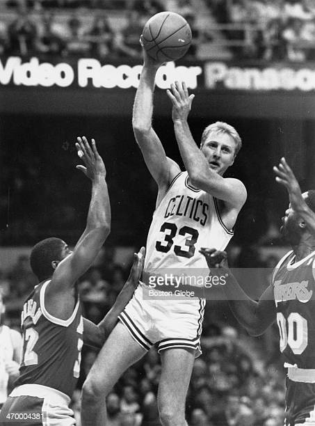 Boston Celtics player Larry Bird center in action against the Los Angeles Lakers at Boston Garden Dec 11 1987