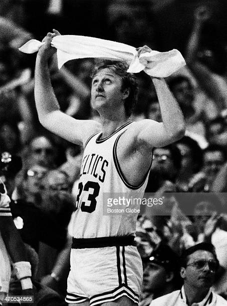 Boston Celtics player Larry Bird during playoff game 7 against the Los Angeles Lakers at Boston Garden on June 12 1984