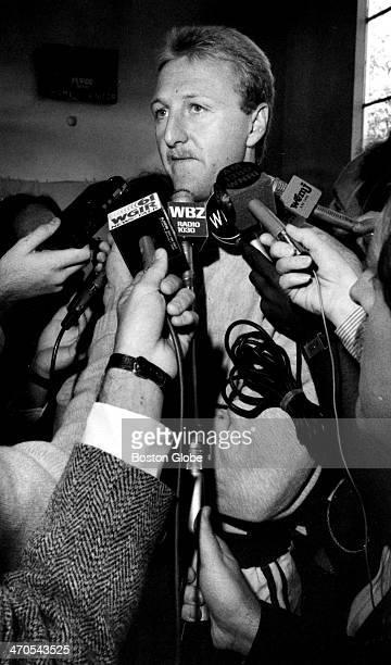 Boston Celtics player Larry Bird speaks to the media Oct 9 1987