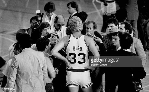 Boston Celtics player Larry Bird talks to the media on press day Sept 29 1983