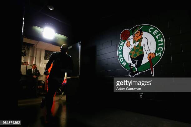 Boston Celtics players run through the tunnel prior to Game Five of the 2018 NBA Eastern Conference Finals against the Cleveland Cavaliers at TD...