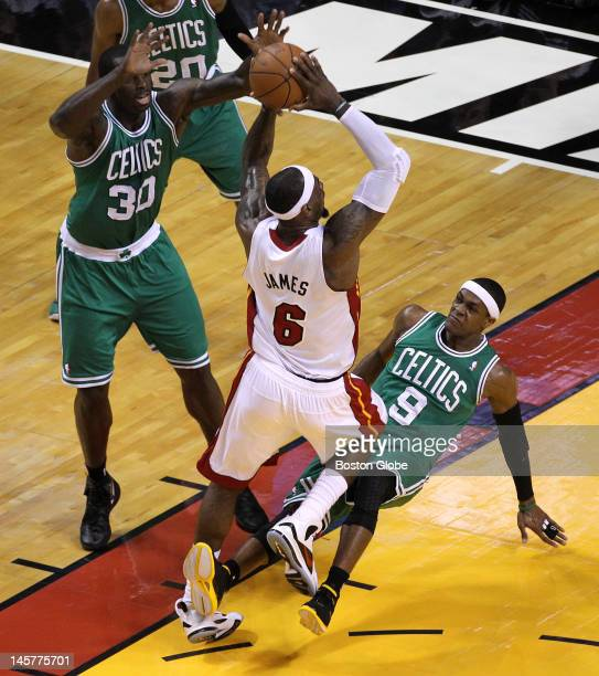 Boston Celtics point guard Rajon Rondo commits his second foul in the first quarter as he fouls Miami Heat small forward LeBron James . Boston...