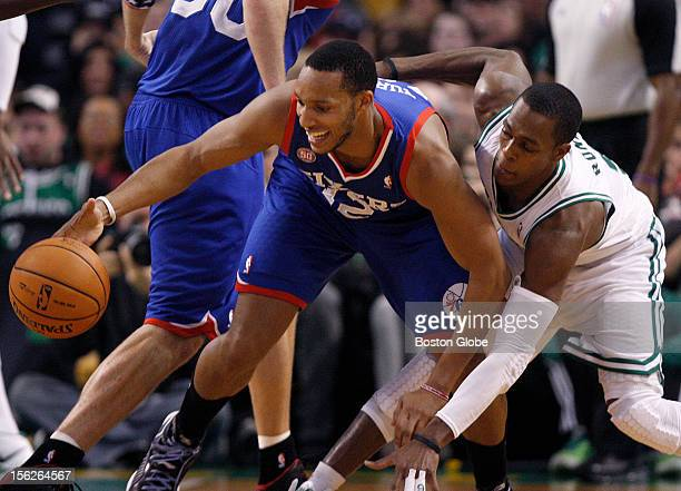 Boston Celtics point guard Rajon Rondo defends Philadelphia 76ers small forward Evan Turner during the second quarter as the Celtics play the...