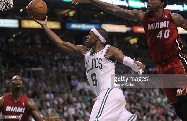 Boston Celtics point guard Rajon Rondo drives for the basket in the second quarter. Boston Celtics NBA basketball, action and reaction. The Celtics...