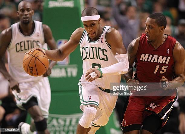 Boston Celtics point guard Rajon Rondo drives the ball the in second quarter. Boston Celtics NBA basketball, action and reaction. The Celtics play...