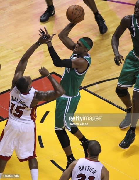 Boston Celtics point guard Rajon Rondo puts up a shot during the first quarter. Boston Celtics NBA basketball, action and reaction. The Celtics play...