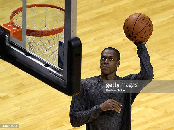 Boston Celtics point guard Rajon Rondo warms up before the start of tonight's game seven. Boston Celtics NBA basketball, action and reaction. The...