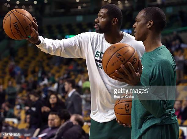 Boston Celtics point guard Rajon Rondo with assistant coach Walter McCarty shoot around during pre game warmups The Boston Celtics take on the Los...