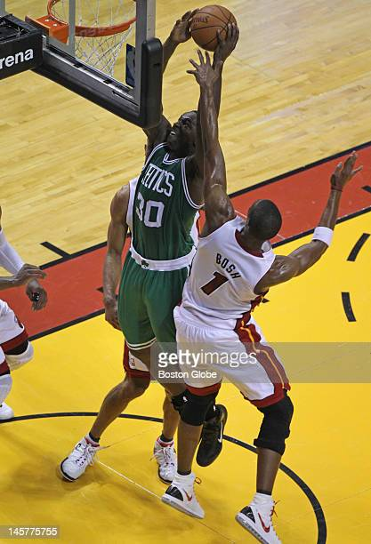 Boston Celtics power forward Brandon Bass puts back a rebound to bring the Celtics within two points late in the second quarter. Boston Celtics NBA...