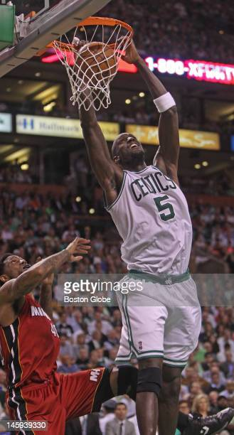 Boston Celtics power forward Kevin Garnett scores in the second quarter. Boston Celtics NBA basketball, action and reaction. The Celtics play the...