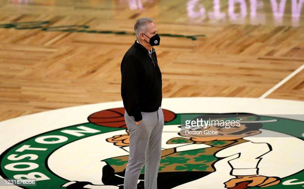 Boston Celtics president Danny Ainge stands at mid-court before the start of the game watching pregame warmups. The Boston Celtics host the...
