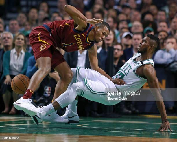 Boston Celtics Semi Ojeleye right hits the floor as he guards Cleveland Cavaliers Rodney Hood left during the first half The Boston Celtics host the...