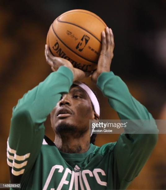 Boston Celtics shooting guard Marquis Daniels during pre-game warmups. Boston Celtics NBA basketball, action and reaction. The Celtics play the Miami...