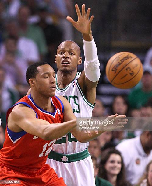 Boston Celtics shooting guard Ray Allen defends Philadelphia 76ers shooting guard Evan Turner during the first quarter Boston Celtics NBA basketball...