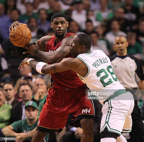 Boston Celtics small forward Mickael Pietrus guards Miami Heat small forward LeBron James in the second quarter Boston Celtics NBA basketball action...