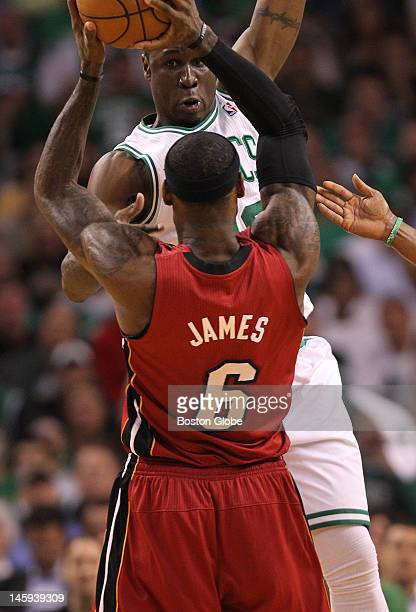 Boston Celtics small forward Mickael Pietrus tries to block Miami Heat small forward LeBron James in the second quarter Boston Celtics NBA basketball...