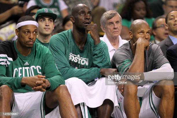Boston Celtics small forward Paul Pierce , Boston Celtics power forward Kevin Garnett , and Boston Celtics shooting guard Ray Allen take an early...