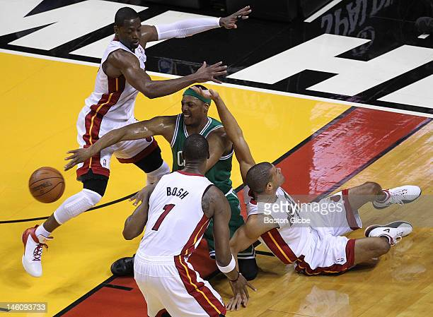 Boston Celtics small forward Paul Pierce dishes off a pass after winning the battle for a loose ball in the first quarter Boston Celtics NBA...