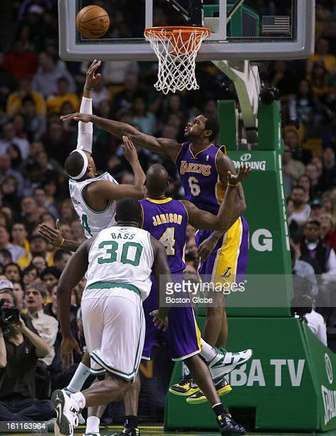 Boston Celtics small forward Paul Pierce draws the foul as he put up this shot in the third quarter as the Boston Celtics play the Los Angeles Lakers...