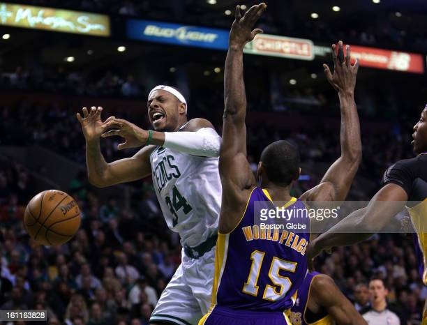 Boston Celtics small forward Paul Pierce is fouled as he drives the lane to the hoop during the second quarter as the Boston Celtics play the Los...