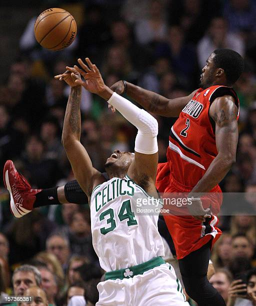 Boston Celtics small forward Paul Pierce is fouled from behind by Portland Trail Blazers shooting guard Wesley Matthews during the third quarter as...