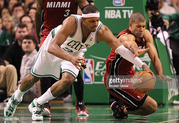 Boston Celtics small forward Paul Pierce looses the ball as Miami Heat small forward Shane Battier knocked it away but a jump ball was called Boston...