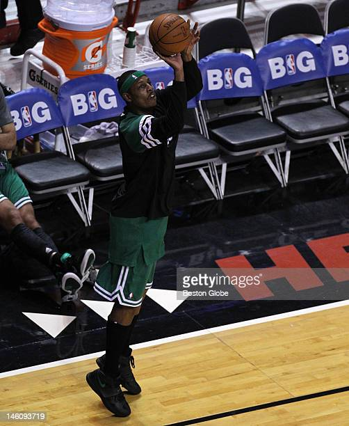 Boston Celtics small forward Paul Pierce warms up prior to the start of tonight's game seven Boston Celtics NBA basketball action and reaction The...