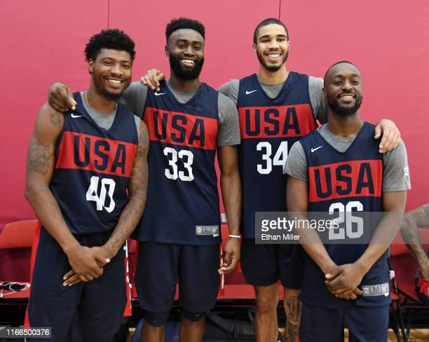 Boston Celtics teammates Marcus Smart Jaylen Brown Jayson Tatum and Kemba Walker of the 2019 USA Men's National Team pose together during a practice...