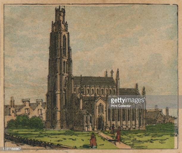 Boston' circa 1910 'The Church Trade in Wool Wood Oats etc Population 941' St Botolph's Church in Boston Lincolnshire The extraordinarily tall...