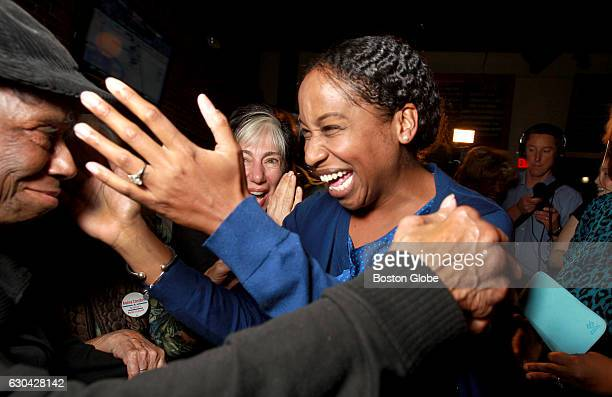 Boston City Council candidate Andrea Joy Campbell greets wellwishers at her election night party at the Blarney Stone in Boston's Dorchester...