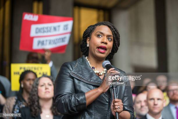 Boston City Councilor and Democratic congressional candidate Ayanna Pressley speaks at a rally calling on Sen Jeff Flake to reject Judge Brett...