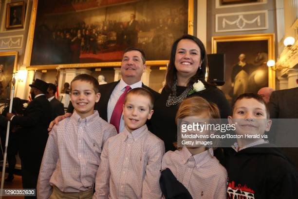 Boston City Councilor Annissa Essaibi-George poses for a photo with her husband, Douglas George, and sons, Douglas Kayden Samir and Charlie following...