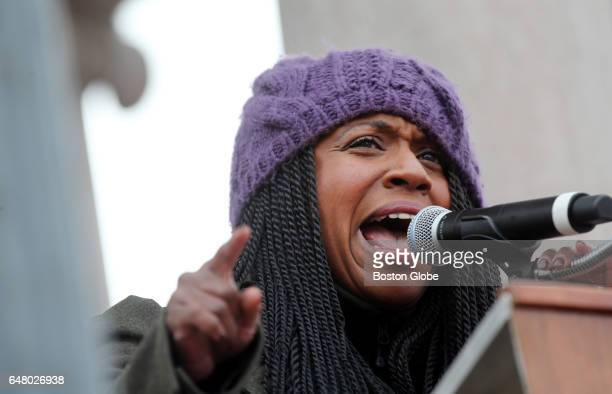 Boston City Councilor AtLarge Ayanna Pressley addresses the crowd during a Stand With Planned Parenthood rally at the Boston Common in Boston Mass on...