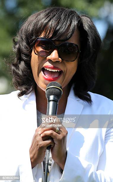 Boston City Councilor AtLarge Ayanna Pressley sings to the crowd during the 2nd Annual Jamaica Plain Porchfest in Jamaica Plain MA on Jul 11 2015