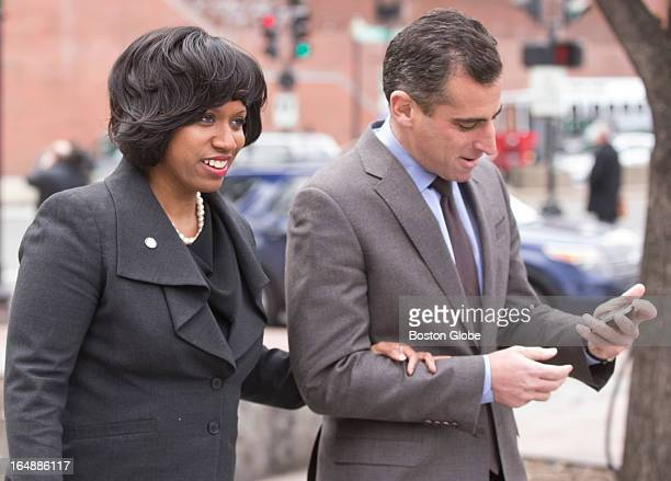 Boston City Councilor Ayanna Pressley left and Michael Ross Council president arriving at Faneuil Hall for Mayor Thomas M Menino's announcement that...