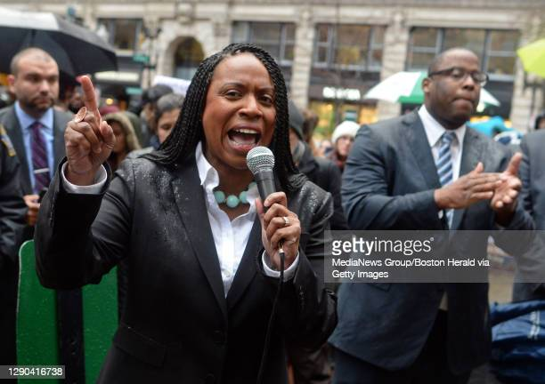 Boston City Councilor Ayanna Pressley speaks during a rally against President Trump ?s immigration executive actions at the Irish Potato Famine...