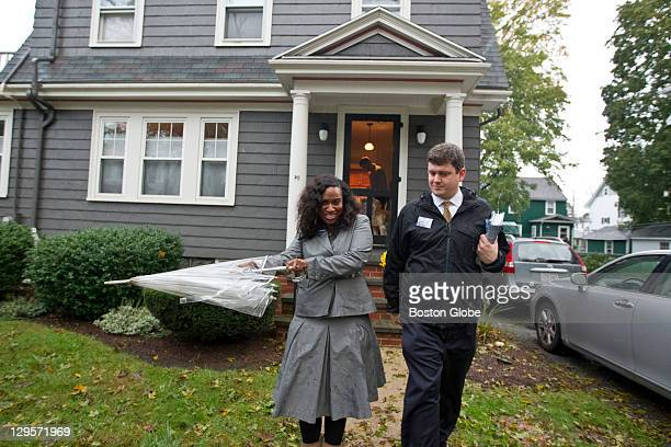 Boston City Councilor John Connolly right and Boston City Councilor Ayanna Pressley canvasing Connolly's neighborhood drumming up neighbors' support...