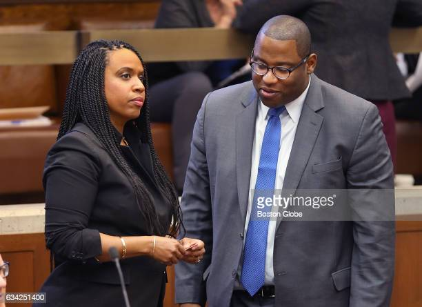 Boston City Councilors Ayanna Pressley left and Tito Jackson chat before the city council meeting at Boston City Hall in Boston on Feb 1 2017