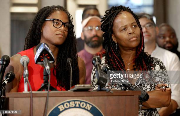 Boston City Councilors Lydia Edwards left and Kim Janey gather for a news conference to protest the recent Boston Calling convictions on the Fifth...