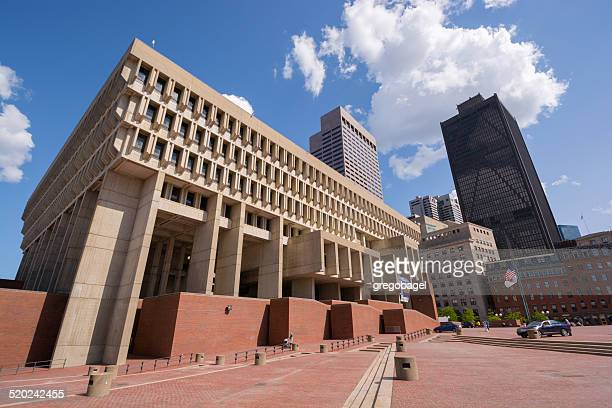 boston city hall at government center in massachusetts - town hall stock pictures, royalty-free photos & images
