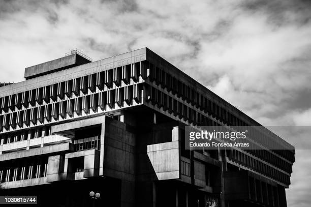 boston city hall - city hall plaza boston stock photos and pictures