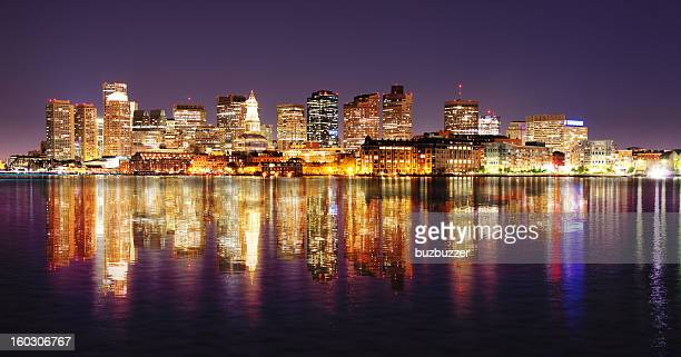 boston city night lights with reflections - boston skyline stock pictures, royalty-free photos & images