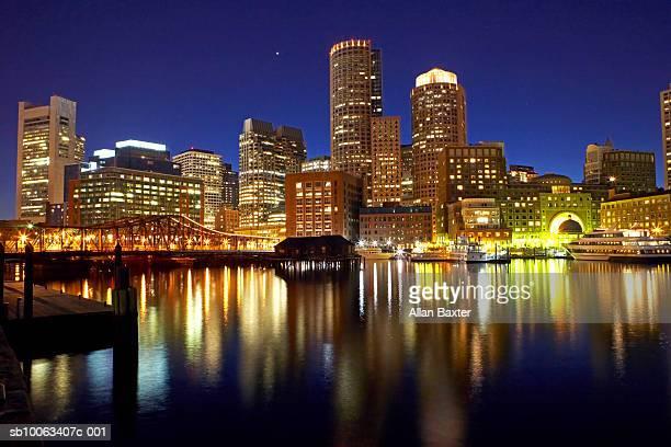 USA, Boston, city skyline at night (long exposure)